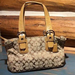 Coach Canvas Shoulder Bag W/Tan Leather Handles